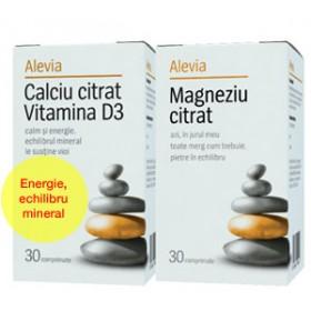 CALCIU CU VITAMINA D3 + MAGNEZIU (Formule Citrat), 30+30 comprimate, Alevia