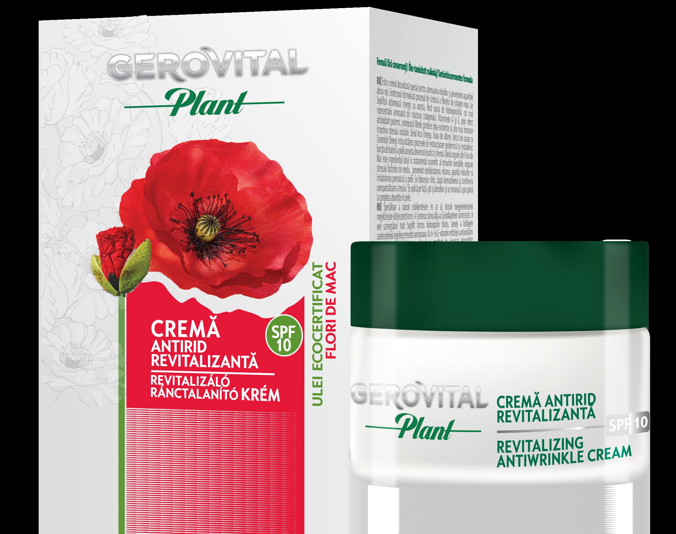 CREMA ANTIRID REVITALIZANTA SPF 10 - GEROVITAL PLANT 50 ml, Farmec