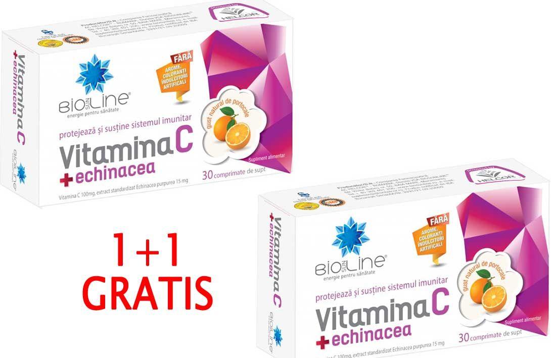VITAMINA C CU ECHINACEA, 30 comprimate de supt, 1+1 GRATIS, Ac Helcor