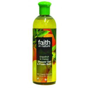 GEL DE DUS CU PORTOCALE SI GRAPEFRUIT DIN INGREDIENTE NATURALE , 250 ml, Faith in Nature
