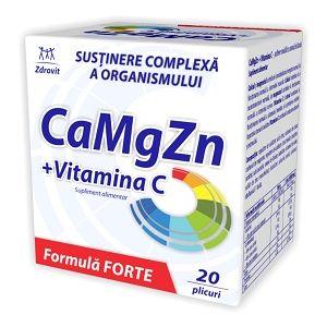 CA MG ZN + VITAMINA C FORTE 20 plicuri, 120 g, Zdrovit