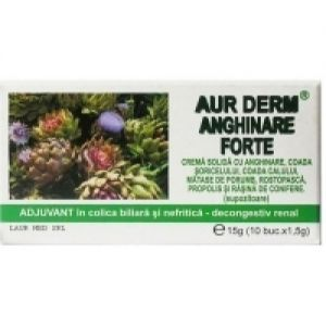 CREMA SOLIDA (SUPOZITOARE) CU ANGHINARE FORTE - AUR DERM, 10 buc x 1.5 g, Laur Med