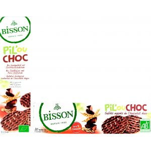 BISCUITI INVELITI IN CIOCOLATA NEAGRA BIO PIL OU CHOC 150 g, Bisson