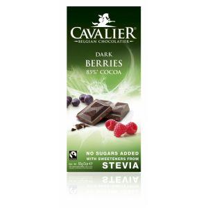 CIOCOLATA NEAGRA BELGIANA CU FRUCTE DE PADURE 85 g, Cavalier