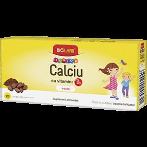 CALCIU CU VITAMINA D3 (CACAO). 20 comprimate masticabile, Bioland Junior