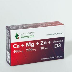 CA + MG + ZN + VITAMINA D3, 30 comprimate, Laboratoarele Remedia