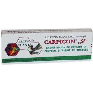 CREMA SOLIDA (SUPOZITOARE) CU PROPOLIS SI RASINA DE CONIFERE - CARPICON S, 10 buc x 1 g, Laur Med