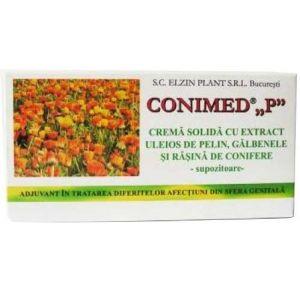 CREMA SOLIDA (SUPOZITOARE) CU GALBENELE SI PELIN - CONIMED P, 10 buc x 1.5 g, Elzin Plant
