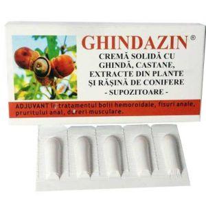CREMA SOLIDA (SUPOZITOARE) CU EXTRACT DE GHINDA - GHINDAZIN, 10 buc x 1.5 g, Elzin Plant