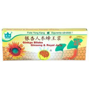 GINGKO BILOBA, GINSENG & ROYAL JELLY (LAPTISOR DE MATCA), 10 fiole buvabile a 10 ml, Yong Kang