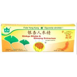 GINGKO BILOBA & GINSENG, 10 fiole buvabile a 10 ml, Yong Kang