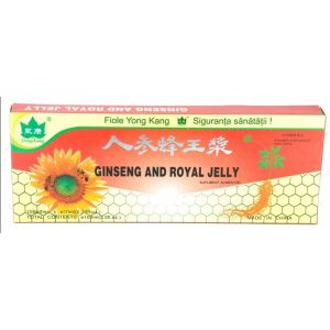 GINSENG & ROYAL JELLY (LAPTISOR DE MATCA), 10 fiole buvabile a 10 ml, Yong Kang