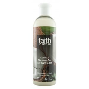 GEL DE DUS SI SPUMA DE BAIE CU NUCA DE COCOS DIN INGREDIENTE NATURALE, 250 ml, Faith in Nature