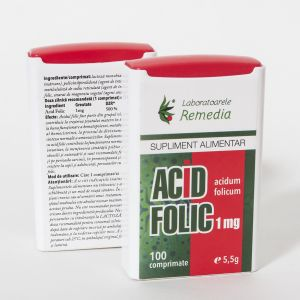 ACID FOLIC 1 mg, Dispenser 100 comprimate, Laboratoarele Remedia