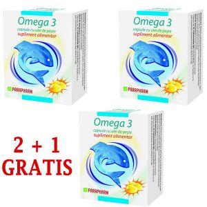 OMEGA 3 - ULEI DE PESTE 30 capsule, 2+1 GRATIS, Parapharm