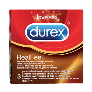 PREZERVATIVE REAL FEEL, 3 buc, Durex