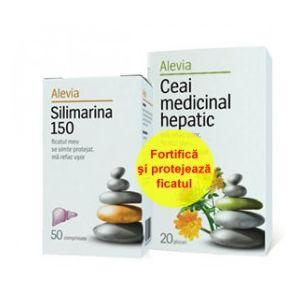 SILIMARINA 150 mg + CEAI HEPATIC, 50 comprimate + 20 plicuri, Alevia