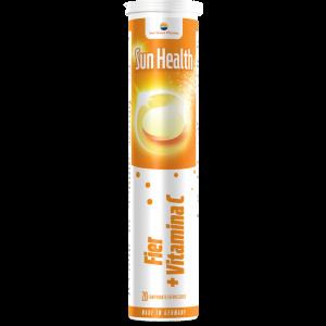 FIER + VITAMINA C - SUN HEALTH, 20 comprimate efervescente, Sun Wave Pharma