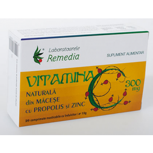 VITAMINA C 300 mg, 20 comprimate masticabile, Laboratoarele Remedia