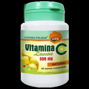 VITAMINA C LEMON 500 mg, 60 tablete masticabile, Cosmo Pharm