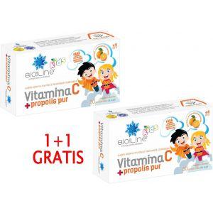 VITAMINA C CU PROPOLIS PUR PENTRU COPII, 30 comprimate de supt, 1+1 GRATIS, Ac Helcor