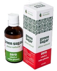 INDULCITOR DIN STEVIA REBAUDIANA LICHID - GREEN SUGAR 50 ml, Laboratoarele Remedia