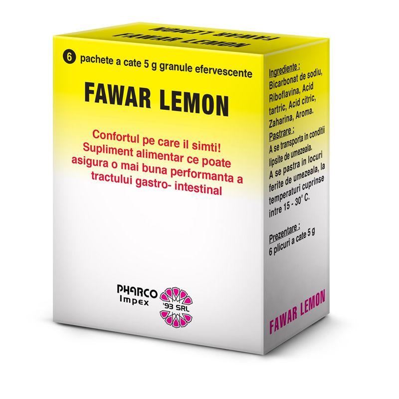 FAWAR LEMON - GRANULE EFERVESCENTE, 6 plicuri x 5 g, Pharco Impex