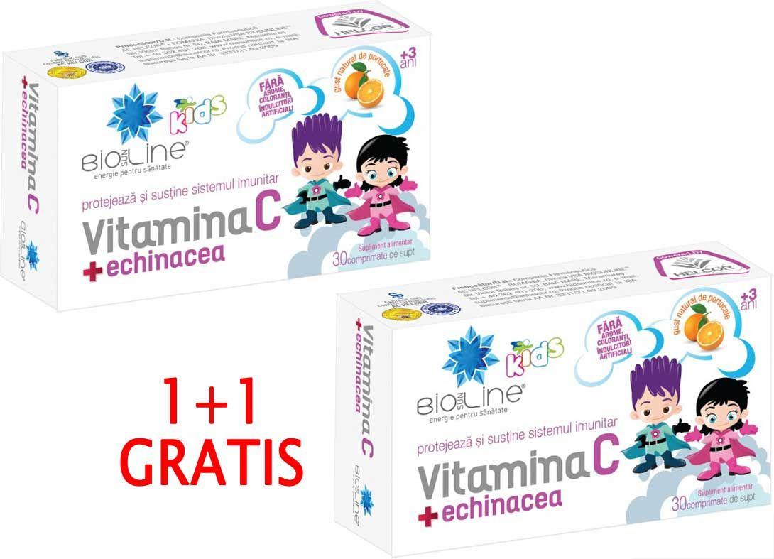 VITAMINA C CU ECHINACEA PENTRU COPII, 30 comprimate de supt, 1+1 GRATIS, Ac Helcor