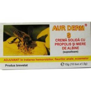 CREMA SOLIDA (SUPOZITOARE) CU PROPOLIS - AUR DERM S, 10 buc x 1.5 g, Laur Med