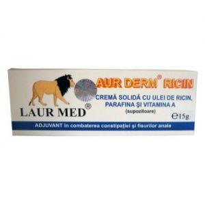 CREMA SOLIDA (SUPOZITOARE) CU ULEI DE RICIN - AUR DERM, 10 buc x 1.5 g, Laur Med