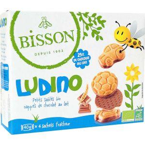 BISCUITI INVELITI IN CIOCOLATA CU LAPTE - LUDINO BIO 160 g, Bisson