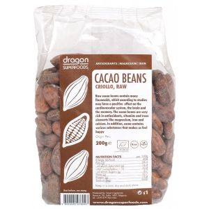CACAO BOABE INTREGI BIO, 200 g, Dragon Superfoods