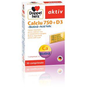 CALCIU 750 + D3 + BIOTINA + ACID FOLIC, 30 comprimate, Doppelherz Aktiv