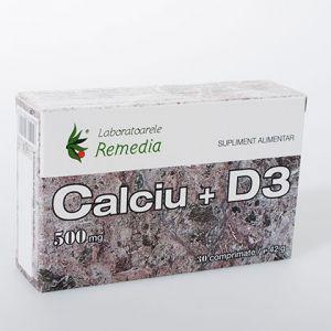 CALCIU + D3 500 mg, 30 comprimate, Laboratoarele Remedia