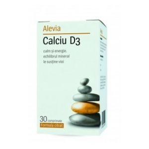 CALCIU D3 (Formula citrat) 30 comprimate, Alevia