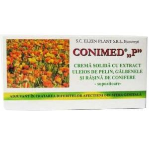 CREMA SOLIDA (SUPOZITOARE) CU GALBENELE SI PELIN - CONIMED P, 10 buc x 1 g, Elzin Plant