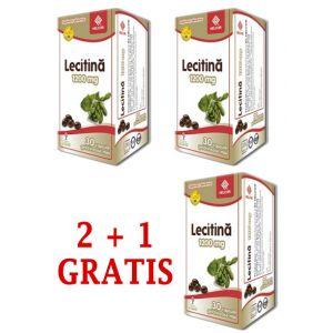 LECITINA 1200 mg, 30 capsule, 2+1 GRATIS, Ac Helcor