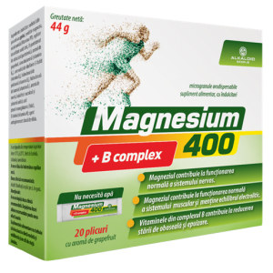 MAGNESIUM + B COMPLEX 400, 20 plicuri cu granule orodispersabile, Alkaloid