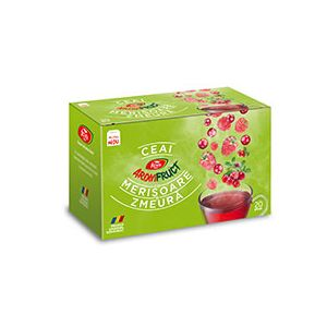 MERISOARE SI ZMEURA - AROMFRUCT, Ceai 20 plicuri x 2 g, Fares