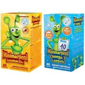 MINIMARTIENI IMUNACTIV, 50 tablete + MINIMARTIENI OMEGA 3, 30 capsule, Walmark