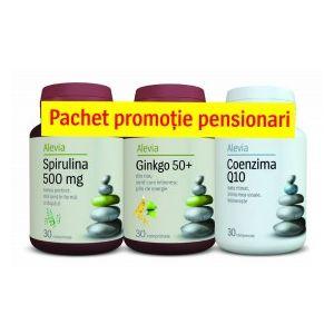PACHET PENTRU PENSIONARI SPIRULINA+COENZIMA Q10+GINKGO 50+, Alevia