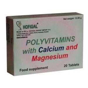 POLIVITAMINE NATURALE DE HOFIGAL CU CALCIU SI MAGNEZIU 20 comprimate, Hofigal