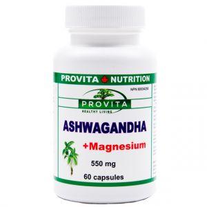 ASHWAGANDHA + MAGNEZIU 550 mg, 60 capsule, Provita Nutrition