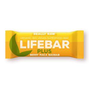 BATON CU FRUCTE, MACA SI BAOBAB LIFEBAR PLUS RAW BIO, 47 g, Lifefood