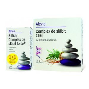 SILFIDE COMPLEX DE SLABIT 100 comprimate + CEAI CU GINSENG SI ANANAS 30 plicuri, Alevia