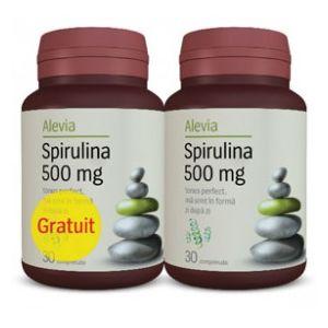 SPIRULINA 500 mg, 30 + 30 comprimate, Alevia