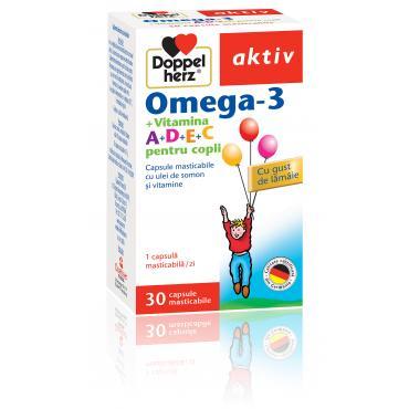 OMEGA 3 + VITAMINA A + D + E + C pentru copii, 30 capsule, Doppelherz Aktiv
