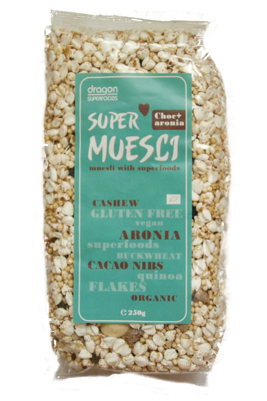 SUPERMUESLI CU ARONIA SI MIEZ DE CACAO BIO, 250 g, Dragon Superfoods